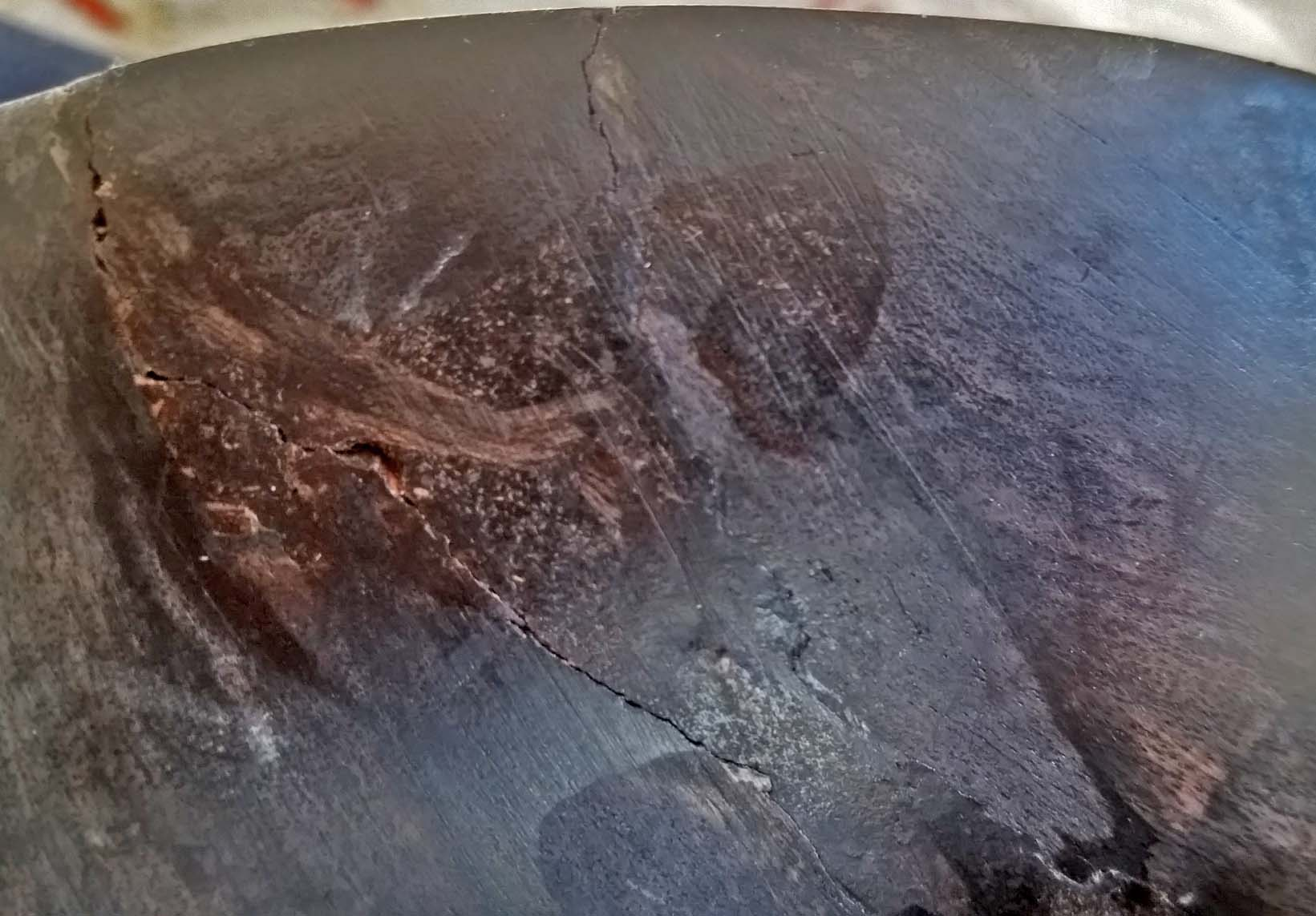 Repaired African blackwood bowl