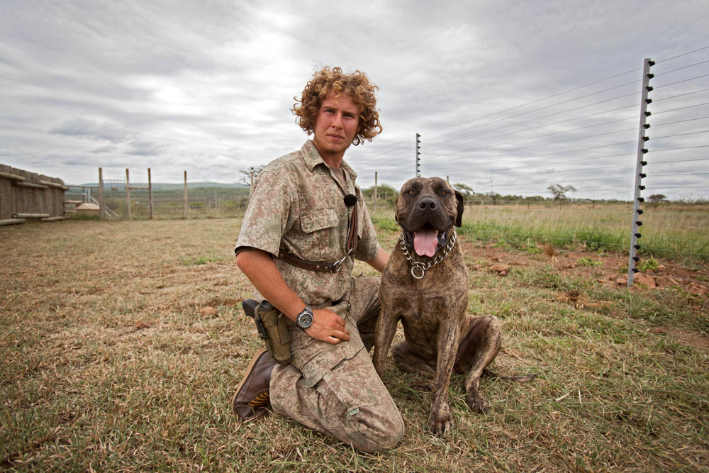 Captured in Africa ranger with K9